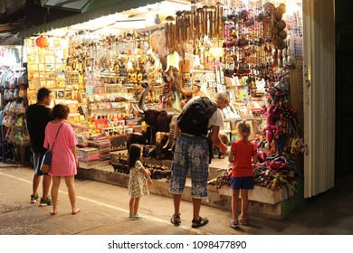 Koh Samui, Thailand - April 3, 2018: The Fisherman's Village in the Bophut area is one of the best-known tourist attractions in Koh Samui and home to a popular Friday walking street market.