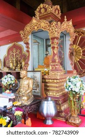 KOH SAMUI, THAILAND - December 13, 2017: Wat Khunaram. Mummy Monk in Koh Samui at Wat Khunaram - Lamai Beach Attractions. Mummified monk