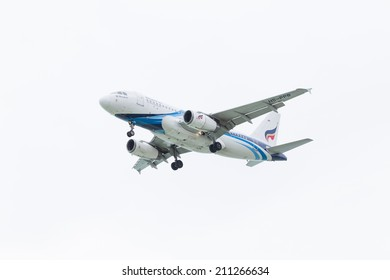 KOH SAMUI, THAILAND - July 23: Bangkok Airways Airbus A319 (HS-PPB) landing on July 23, 2014 at Koh Samui International Airport, Koh Samui, Thailand.