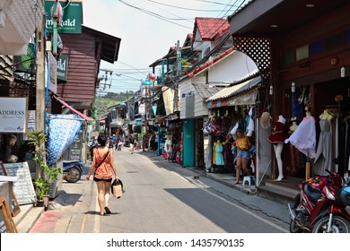 Koh Samui, Thailand - June 23, 2019: The Fisherman's Village in the Bophut area is one of the best-known tourist attractions in Koh Samui and home to a popular Friday walking street market.