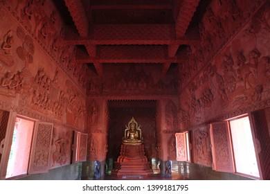 KOH SAMUI, THAILAND - MARCH 10, 2019: Wat Sila Ngu (Red Temple) on Koh Samui island (Thailand), indoor. Buddhist religious architecture