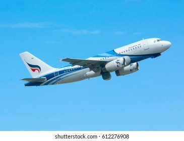 Koh Samui , THAILAND - March 31, 2017: Bangkok Airways airbus HS-PPF  up flying-level after taking off from Koh Samui Airport runway. Departure Flight to Bangkok.