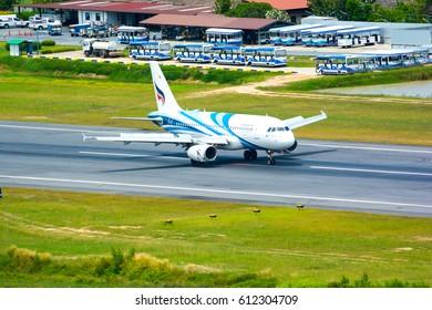 Koh Samui , THAILAND - March 31, 2017: Bangkok Airways airbus HS-PPA landed on runway at Koh Samui Airport .Arrival  Flight from Bangkok.