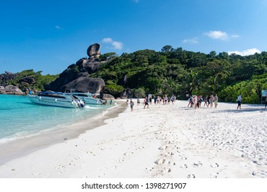 Koh Similan in SImilan Islands national park Thailand / March 2019: Crowds of tourists arrived to tropical beach