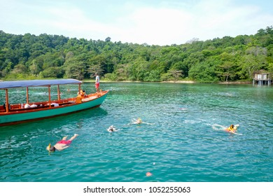 Koh Ta Kiev, Cambodia - 19 January 2017: people maiking snorkeling at Koh Ta Kiev island on Cambodia