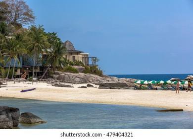 Koh Tao island, Thailand - June 20th. 2016 - Amazing tropical beach scenario in Koh Tao island near Koh Samui in Thailand, Asia.