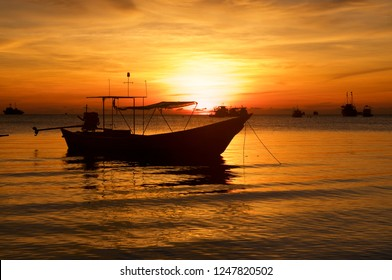 Koh Tao Island in Thailand orange sunrise