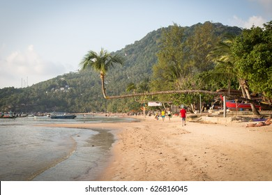 Koh Tao, Thailand, February 19, 2017: view of Sairee beach - the most famous beach in Koh Tao