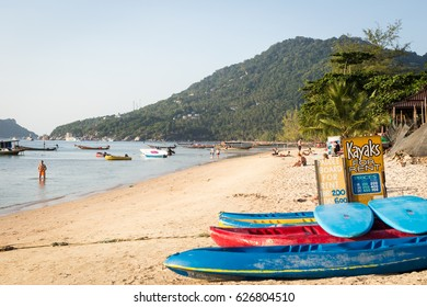 Koh Tao, Thailand, February 20, 2017: Kayak rent on Sairee beach, busiest beach on Koh Tao island, Krabi Province