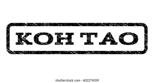 Koh Tao watermark stamp. Text caption inside rounded rectangle frame with grunge design style. Rubber seal stamp with unclean texture. Raster black ink imprint on a white background.