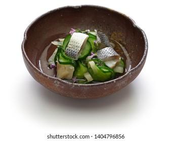 Kohada Sunomono( spotted sardine vinegared dish),  japanese cuisine. Sunomono is a kind of Japanese sour salad. It is made of vinegared vegetable or seafood.