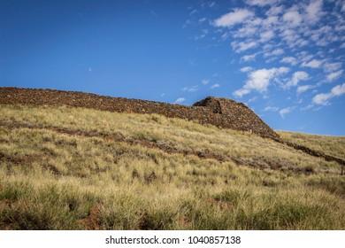 Kohala Coast, Hawaii/USA - February 21, 2018: An ancient temple built by King Kamehameha I between 1790-1791. It was built to appease the war god, Kuka'ilimoku and to unify the Hawaiian Islands.