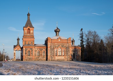 Kohila, Estonia - January 2, 2016: The Church of Kohila. The building was started at 1899 and was completed at 1901.