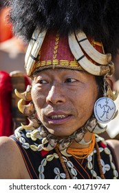 KOHIMA, NAGALAND/INDIA - DECEMBER 3, 2013: Tribesman of Nagaland at the annual Hornbill festival. The Hornbill is also known as the Festival of Festivals'.