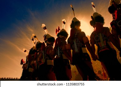 """Kohima,Nagaland,India- December 02, 2015 Caption- """" Brothers in Arms"""" This image was made during the second day of the grand HORNBILL FESTIVAL held every year in Nagaland state of India."""