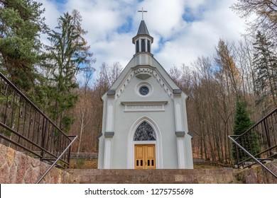 Kohutovo, Slovakia - November 18, 2018: Chapel of Holy Mary in Kohutovo Nova Bana in Slovakia