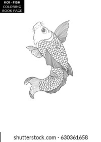 Koi fish in japanese style tattoo design. Coloring book page