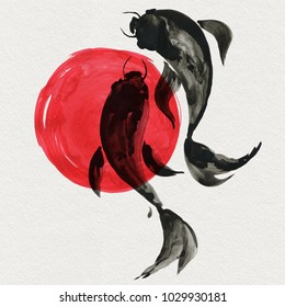 Koi fishes in Japanese painting style. Traditional Beautiful watercolor hand drawn illustration