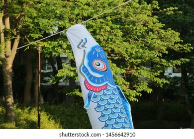 Koinobori is carp-shaped streamers for Japanese Children's day as national holiday, Japanese culture,now and day we can see it in the city