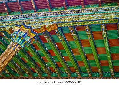 KOKAND, UZBEKISTAN - MAY 6, 2015: The interiors of Khudayar Khan Palace are the best place to discover the Eastern art, on May 6 in Kokand.