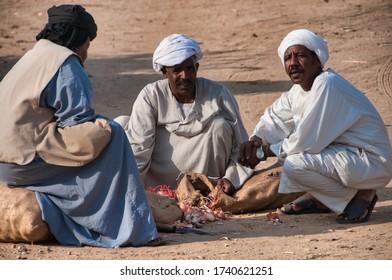 Kokka, Sudan - 09/23/2018: Waiting for Nile ferry
