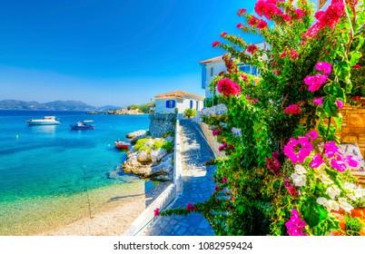 Kokkari Village beach view. Kokkari Village is populer tourist destination in Samos Island.