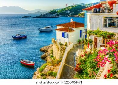 Kokkari Village panoramic view in Samos Island. Samos Island is populer tourist destination in Aegean Sea.