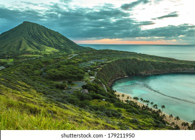 Koko Head Crater and Hanauma Bay at dawn on Oahu, Hawaii