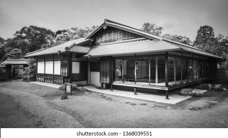 Koko-en Garden, Himeji, Japan -November 8, 2018: Tea Tree Garden house in black and white, fully glazed to better integrate in the natural environment, at Koko-en Garden located next in Himeji, Japan.