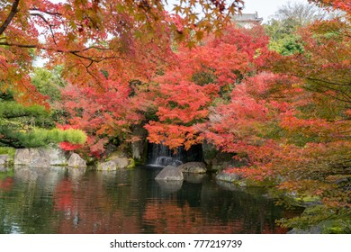 Kokoen, traditional Japanese garden in autumn season at Himeji Castle, Japan .
