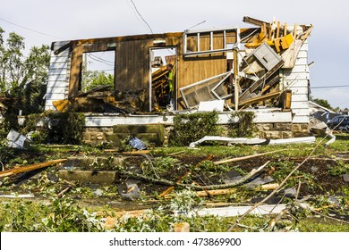 Kokomo - August 24, 2016: Several EF3 tornadoes touched down in a residential neighborhood for the second time in three years causing millions of dollars in damage 33
