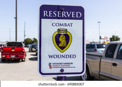 Kokomo - Circa August 2017: Reserved Combat Wounded Veteran/Purple Heart Parking at a Lowe's Home Improvement Warehouse
