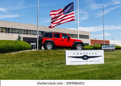 Kokomo - Circa May 2018: Jeep Wrangler on display at Chrysler Transmission Plant. The four subsidiaries of FCA are Chrysler, Dodge, Jeep and Ram Trucks VI