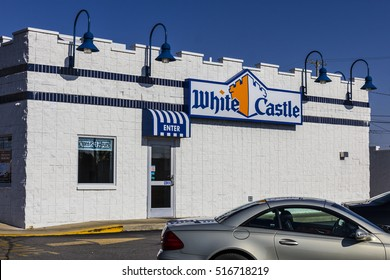 Kokomo - Circa November 2016: White Castle Hamburger Location. White Castle Serves 2 by 2 Inch Sliders IV