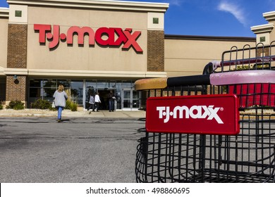 Kokomo - Circa October 2016: T.J. Maxx Retail Store Location. T.J Maxx is a discount retail chain featuring stylish brand-name apparel, shoes and accessories V