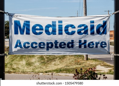 Kokomo - Circa September 2019: Medicaid Accepted Here sign. Medicaid is a federal and state program that helps with medical costs for people with limited income II