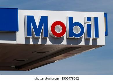 Kokomo - Circa September 2019: Mobil Gas Station Signage. Mobil Merged with Exxon to Become ExxonMobil Traded as XOM II