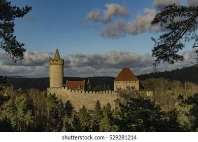 Kokorin castle in sunny winter day with blue sky