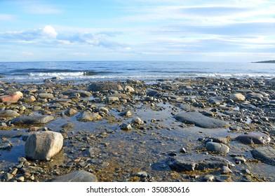 Kola Peninsula, Tersky coast of the White sea at low tide