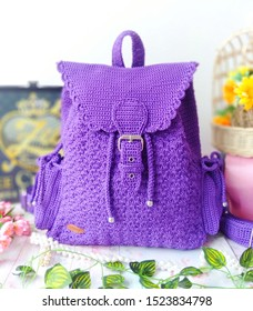 Kolaka, Sout East Sulawesi, Indonesia, October 6 2019, Purple Crochet Backpack, hand hooked in Shells and single crochet stitch at Zee Crochet Brand Display