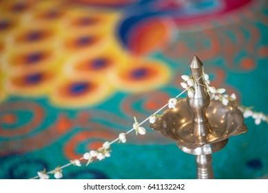 Kolam decoration at a Indian wedding ceremony