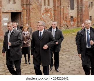 KOLBACZ, POLAND - MARCH 27, 2015: President of the Republic of Poland Bronislaw Komorowski, during presidential election campaign.