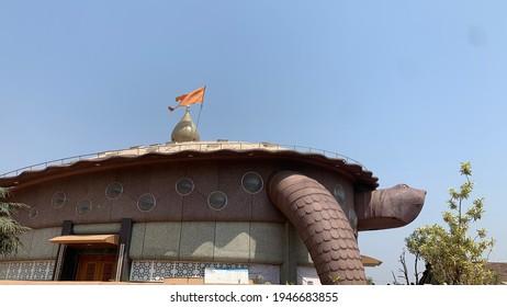 Kolhapur, Maharashtra, India - 29 March 2021 : Shri Sadguru Datta Chile Maharaj Temple, Paijarvadi, Panhala. The Temple architecture is also very interesting and attractive. It is of Tortoise's shape.