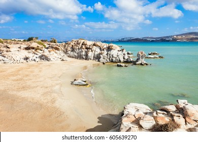 Kolimbithres beach with beauty stone rocks on the Paros island in Greece