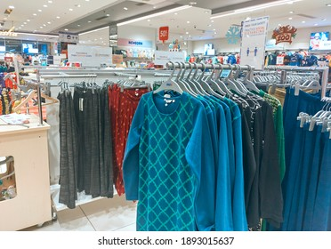 Kolkata, 01-03-2021: Retail display of fashionable, readymade fabric brands inside a shopping mall. Though it is festive time during new year, usual crowd of buyers are missing.
