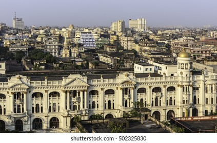 Kolkata, Bengal, India. Elevated view of  Kolkata skyline next to Jawaharlal Nehru Road with view of prominent buildings running into the distance in Kolkata, Bengal, India.