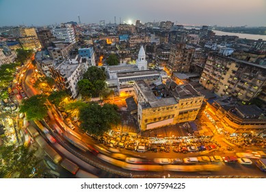 Kolkata city top view  at night, West Bengal, India. Long exposure photo