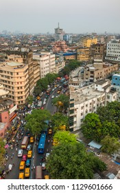 Kolkata city traffic on the crowded street in downtown, West Bengal, India. Top view