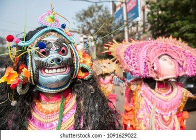 KOLKATA - DECEMBER 28: Chhau dancers wearing Chhau masks  performing during a Bengali Heritage Rally to kick off North American Bengali Conference 2015  in Kolkata, India on 28th December 2014.