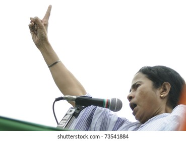 KOLKATA - FEBRUARY 20:  An angry Indian Railways minister Ms.Mamata Banerjee  while giving her speech during a political rally in Kolkata, India on February 20, 2011.